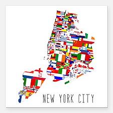 "New York City Ethnic Map Square Car Magnet 3"" x 3"""