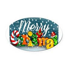 Colorful Merry Christmas Oval Car Magnet