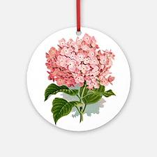 Pink hydragea flowers Ornament (Round)