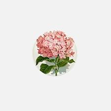 Pink hydragea flowers Mini Button