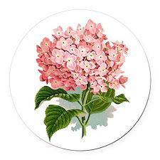 Pink hydragea flowers Round Car Magnet