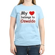 My heart belongs to oswaldo Women's Pink T-Shirt