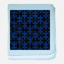 PUZZLE1 BLACK MARBLE & BLUE LEATHER baby blanket