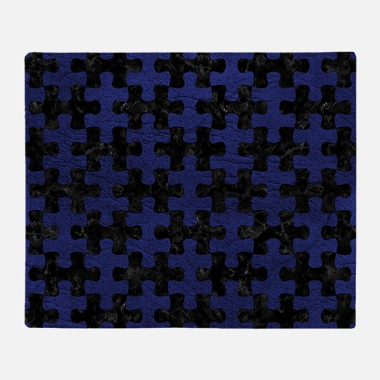PUZZLE1 BLACK MARBLE & BLUE LEATHER Throw Blanket