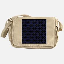 PUZZLE1 BLACK MARBLE & BLUE LEATHER Messenger Bag