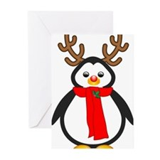 Red Nosed Penguin Greeting Cards
