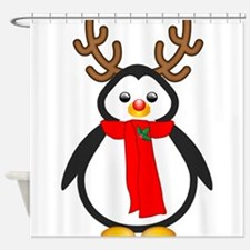 Red Nosed Penguin Shower Curtain