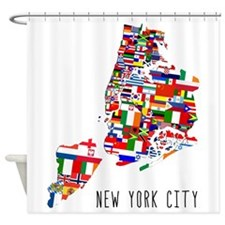 New York City Ethnic Map Shower Curtain