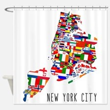 New York City Ethnic Map Shower Curtain