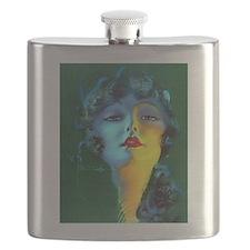Flapper Art Deco Woman on Green Roaring 20s Flask