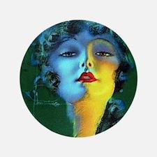 "Flapper Art Deco Woman on Green Roaring 20s 3.5"" B"