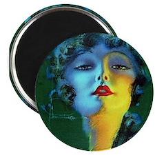 Flapper Art Deco Woman on Green Roaring 20s Magnet