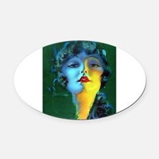 Flapper Art Deco Woman on Green Roaring 20s Oval C