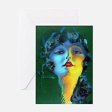 Flapper Art Deco Woman on Green Roaring 20s Greeti