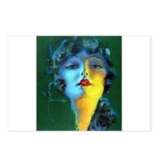 Flapper Art Deco Woman on Green Roaring 20s Postca