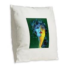 Flapper Art Deco Woman on Green Roaring 20s Burlap
