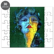 Flapper Art Deco Woman on Green Roaring 20s Puzzle