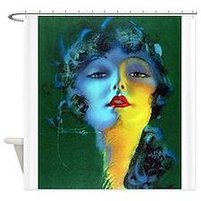 Flapper Art Deco Woman on Green Roaring 20s Shower