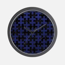 PUZZLE1 BLACK MARBLE & BLUE LEATHER Wall Clock