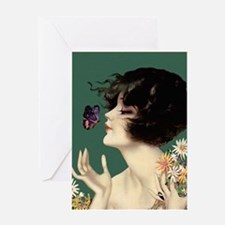 Flapper Art Deco Woman with Fllowers and Butterfly