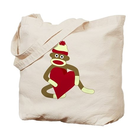 Sock Monkey Love Red Heart Tote Bag