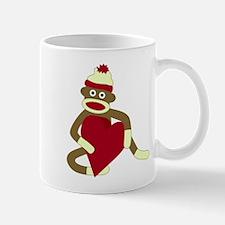 Sock Monkey Love Red Heart Coffee Mug