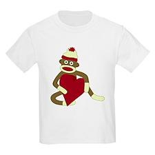 Sock Monkey Love Red Heart Kids T-Shirt