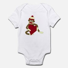 Sock Monkey Love Red Heart Infant Bodysuit