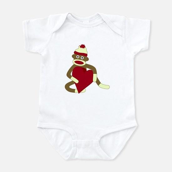Sock Monkey Love Red Heart Infant Bodysuit