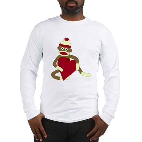 Sock Monkey Love Red Heart Long Sleeve T-Shirt