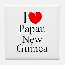 """""""I Love Papua New Guinea"""" Tile Coaster"""