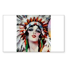 Art Deco Indian Flapper Woman With Headdress Roari