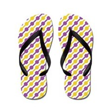 Purple And Yellow Beaded Lines Flip Flops