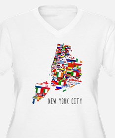 New York City Ethnic Map Plus Size T-Shirt