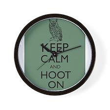 Keep Calm and Hoot On Owl Parody Humor Wall Clock