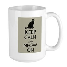 Keep Calm and Meow On Black Cat Humor Parody Mugs
