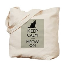 Keep Calm and Meow On Black Cat Humor Parody Tote