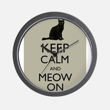 Keep Calm and Meow On Black Cat Humor Parody Wall