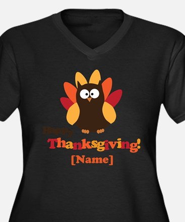 Personalized Happy Thanksgiving Owl Women's Plus S