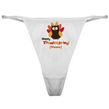 Personalized Happy Thanksgiving Owl Classic Thong