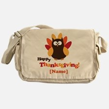 Personalized Happy Thanksgiving Owl Messenger Bag