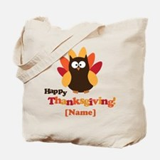 Personalized Happy Thanksgiving Owl Tote Bag