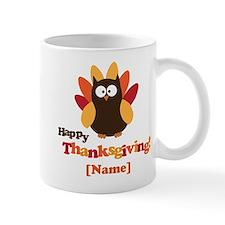 Personalized Happy Thanksgiving Owl Small Mug