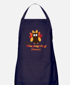 Personalized Happy Thanksgiving Owl Apron (dark)