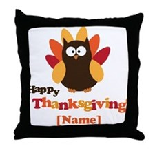 Personalized Happy Thanksgiving Owl Throw Pillow