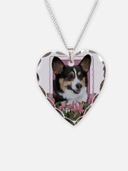 Pink_Tulips_Corgi Necklace Heart Charm