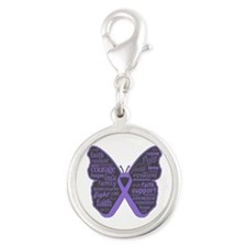 Butterfly Hodgkins Disease Ribbon Silver Round Cha