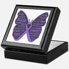 Butterfly Hodgkins Disease Ribbon Keepsake Box