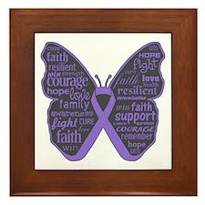 Butterfly Hodgkins Disease Ribbon Framed Tile