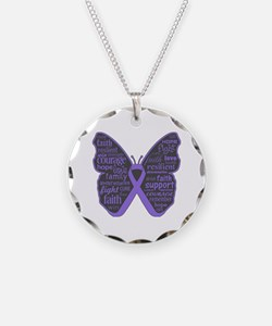 Butterfly Hodgkins Disease Ribbon Necklace